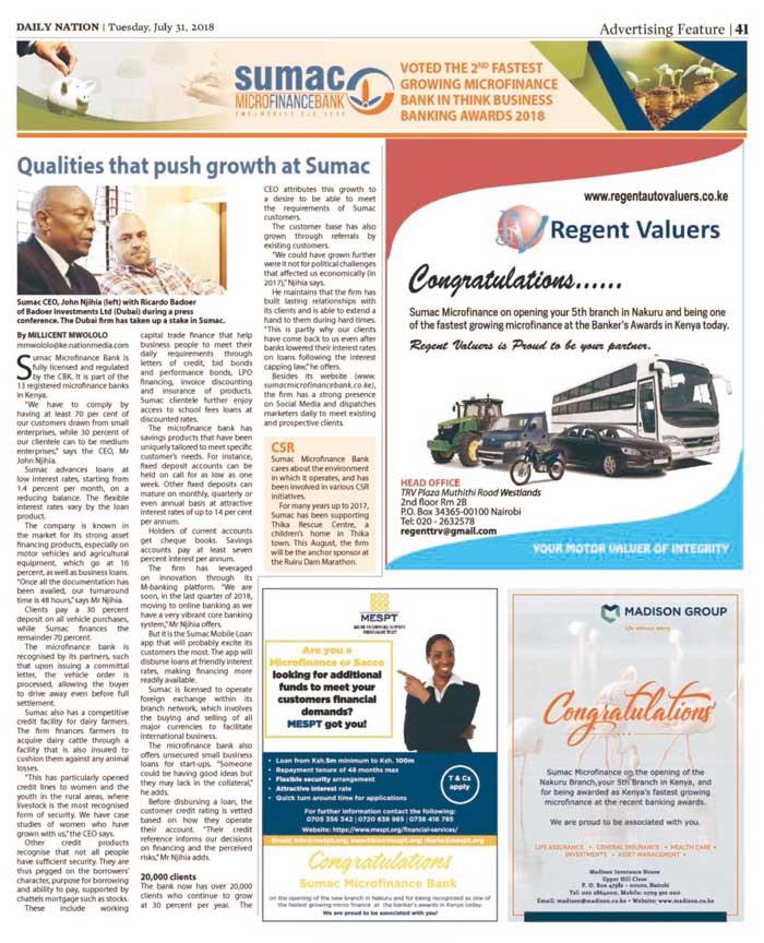 Daily Nation sumac Bank