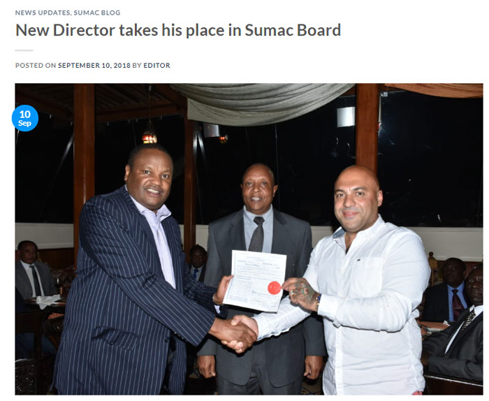New Director takes his place in Sumac Board