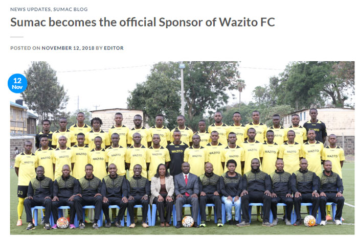 Sumac becomes the official Sponsor of Wazito FC